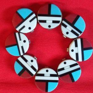 Vintage 60's Native Zuni Sunface Button Covers